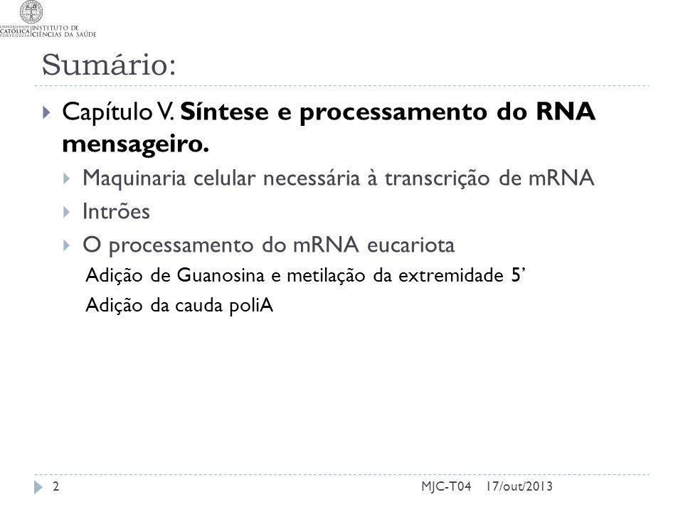 Sumário: Capítulo V. Síntese e processamento do RNA mensageiro.