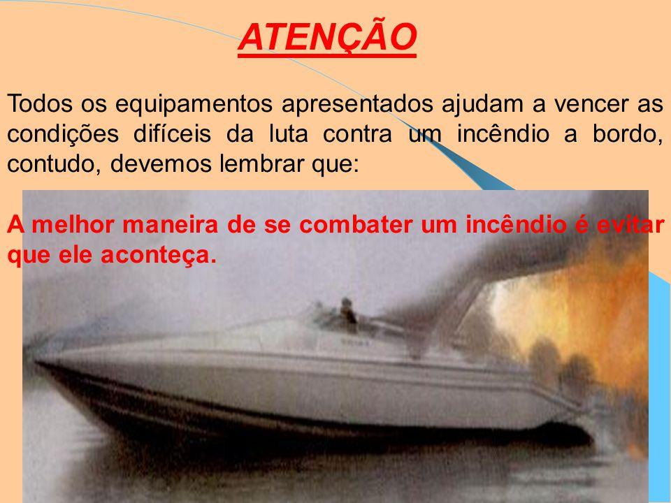 ATENÇÃO Todos os equipamentos apresentados ajudam a vencer as condições difíceis da luta contra um incêndio a bordo, contudo, devemos lembrar que: