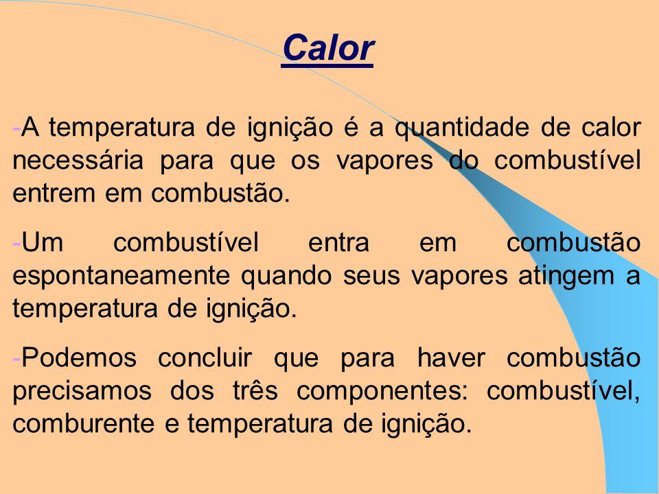 Calor A temperatura de ignição é a quantidade de calor necessária para que os vapores do combustível entrem em combustão.