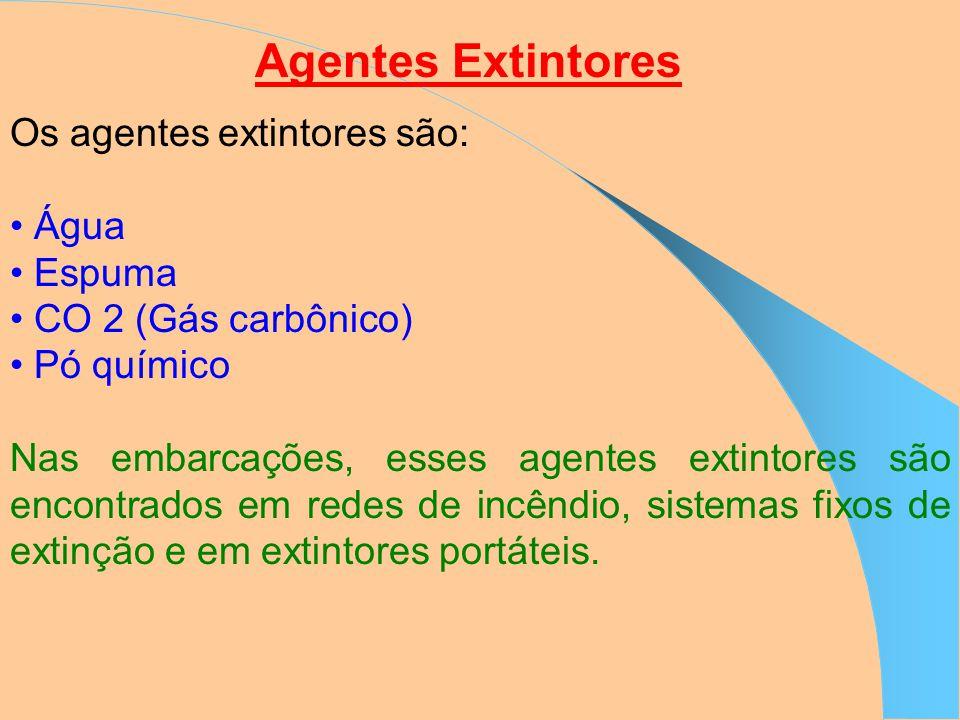 Agentes Extintores Os agentes extintores são: • Água • Espuma