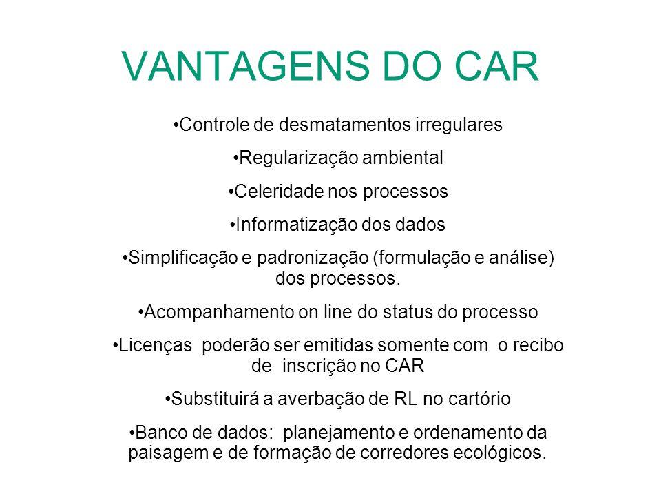 VANTAGENS DO CAR Controle de desmatamentos irregulares