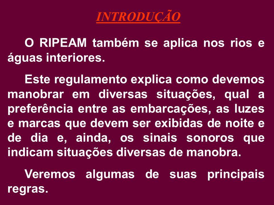 INTRODUÇÃO O RIPEAM também se aplica nos rios e águas interiores.