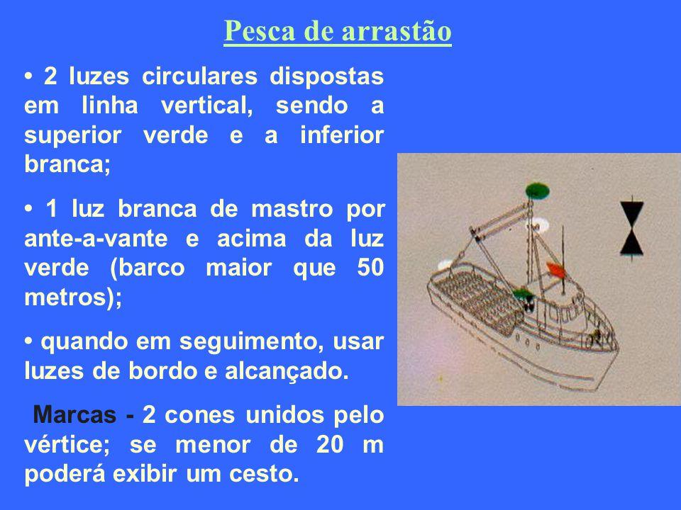 Pesca de arrastão • 2 luzes circulares dispostas em linha vertical, sendo a superior verde e a inferior branca;