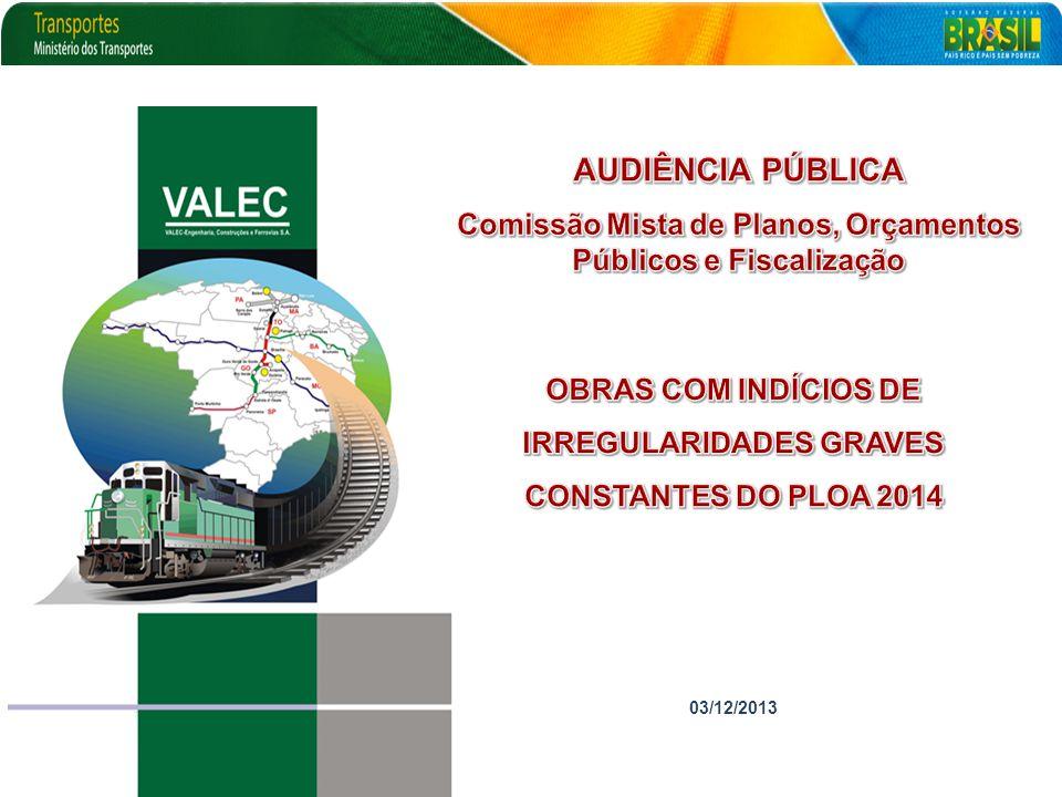 AUDIÊNCIA PÚBLICA Comissão Mista de Planos, Orçamentos Públicos e Fiscalização. OBRAS COM INDÍCIOS DE.