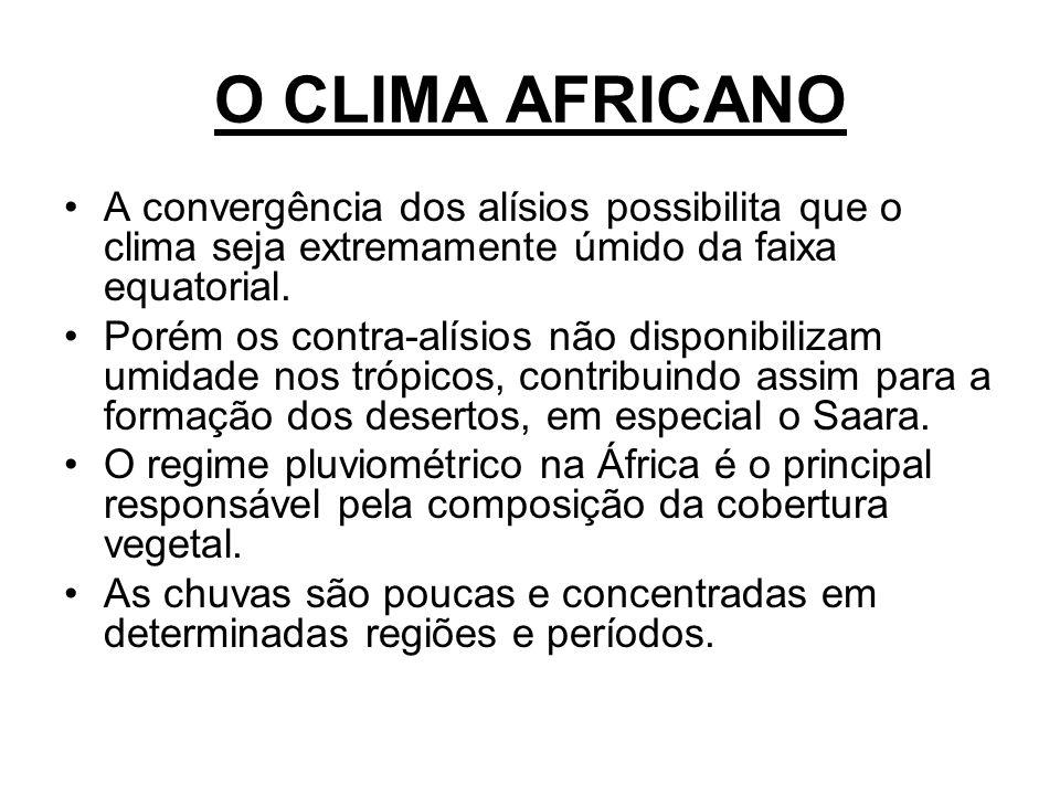 O CLIMA AFRICANO A convergência dos alísios possibilita que o clima seja extremamente úmido da faixa equatorial.