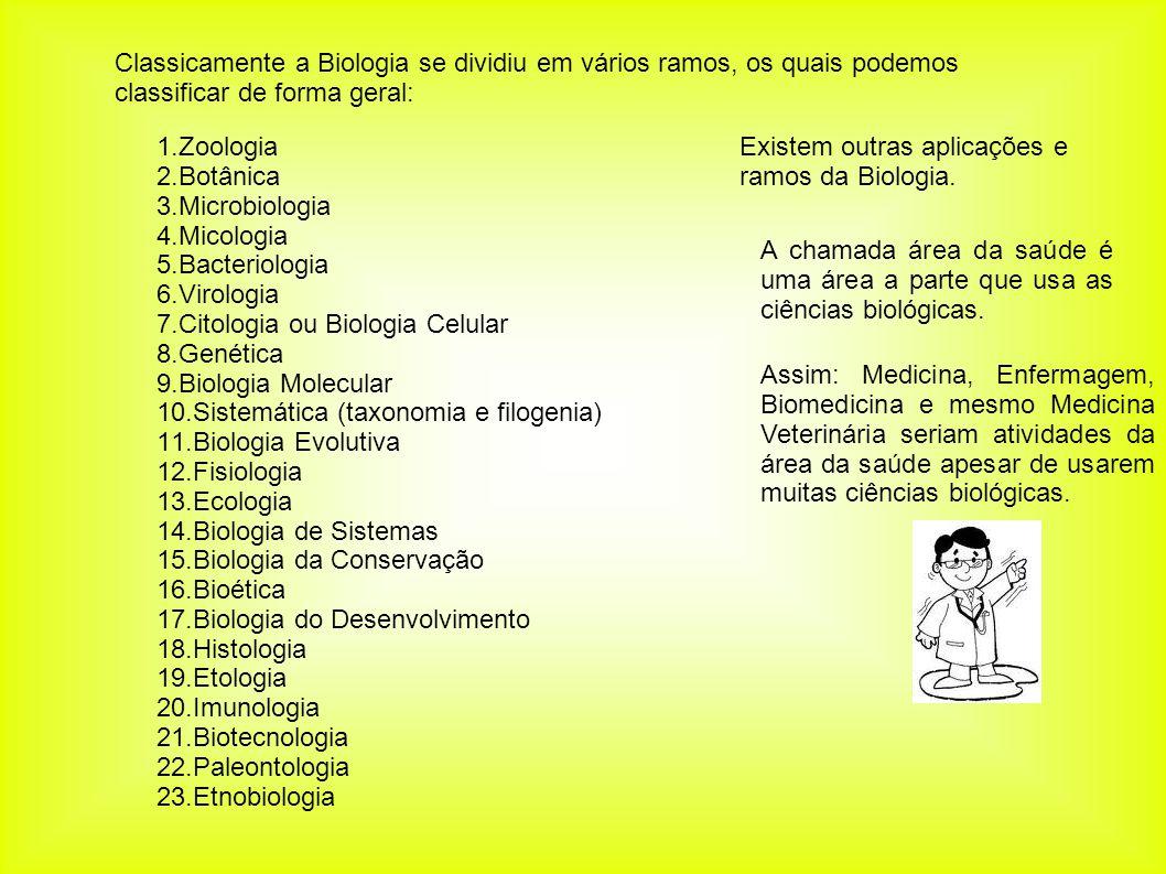 Classicamente a Biologia se dividiu em vários ramos, os quais podemos classificar de forma geral: