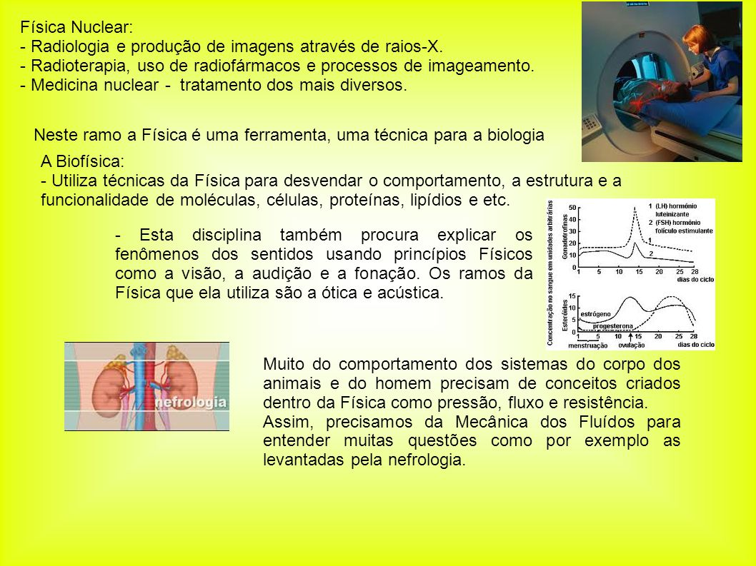 Física Nuclear: - Radiologia e produção de imagens através de raios-X. - Radioterapia, uso de radiofármacos e processos de imageamento.