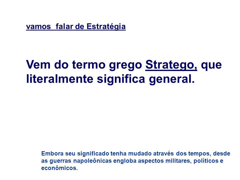 Vem do termo grego Stratego, que literalmente significa general.