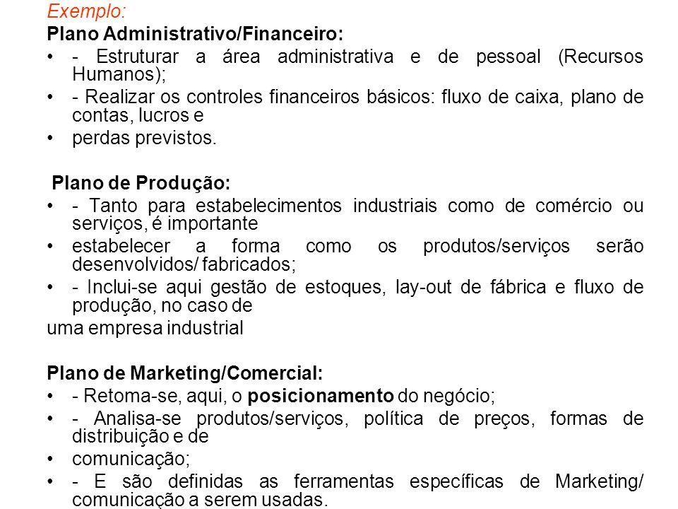 Exemplo: Plano Administrativo/Financeiro: - Estruturar a área administrativa e de pessoal (Recursos Humanos);