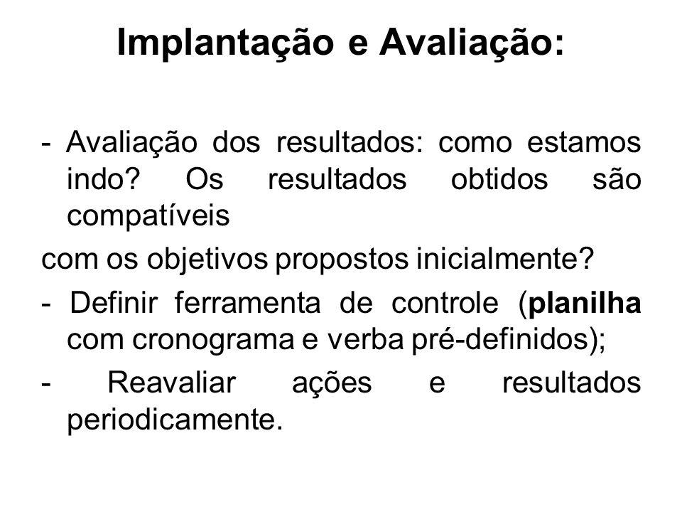 Implantação e Avaliação: