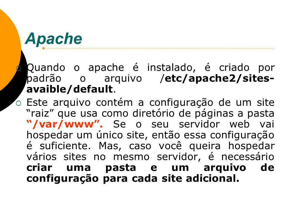 Apache Quando o apache é instalado, é criado por padrão o arquivo /etc/apache2/sites-avaible/default.