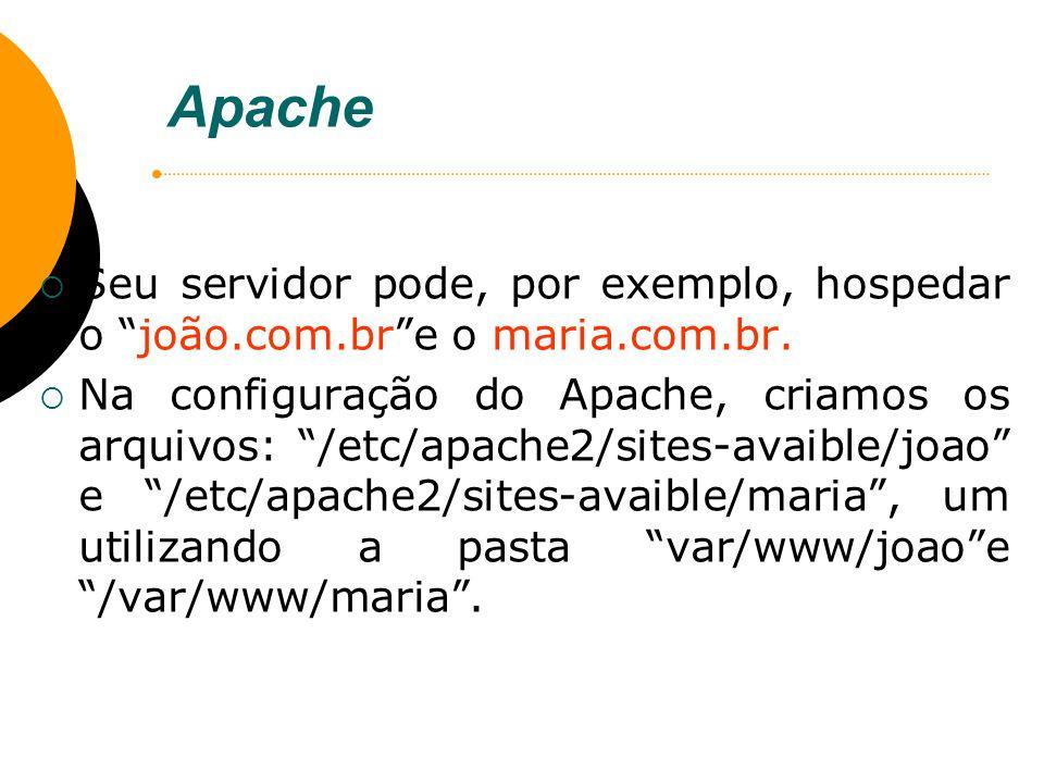 Apache Seu servidor pode, por exemplo, hospedar o joão.com.br e o maria.com.br.