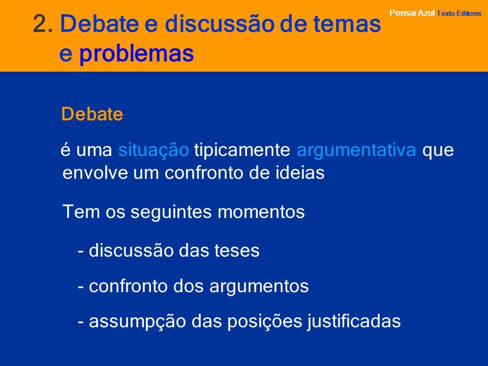 2. Debate e discussão de temas e problemas