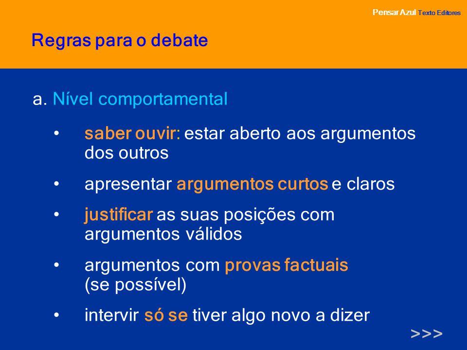 Regras para o debate a. Nível comportamental