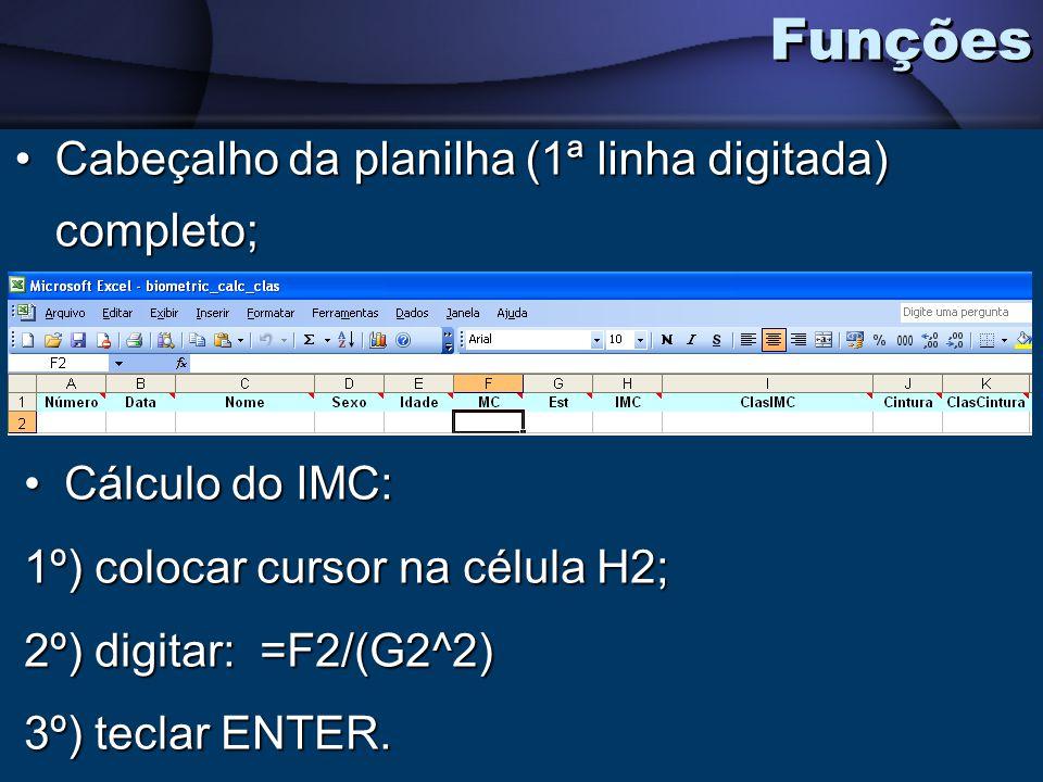 Funções Cabeçalho da planilha (1ª linha digitada) completo;