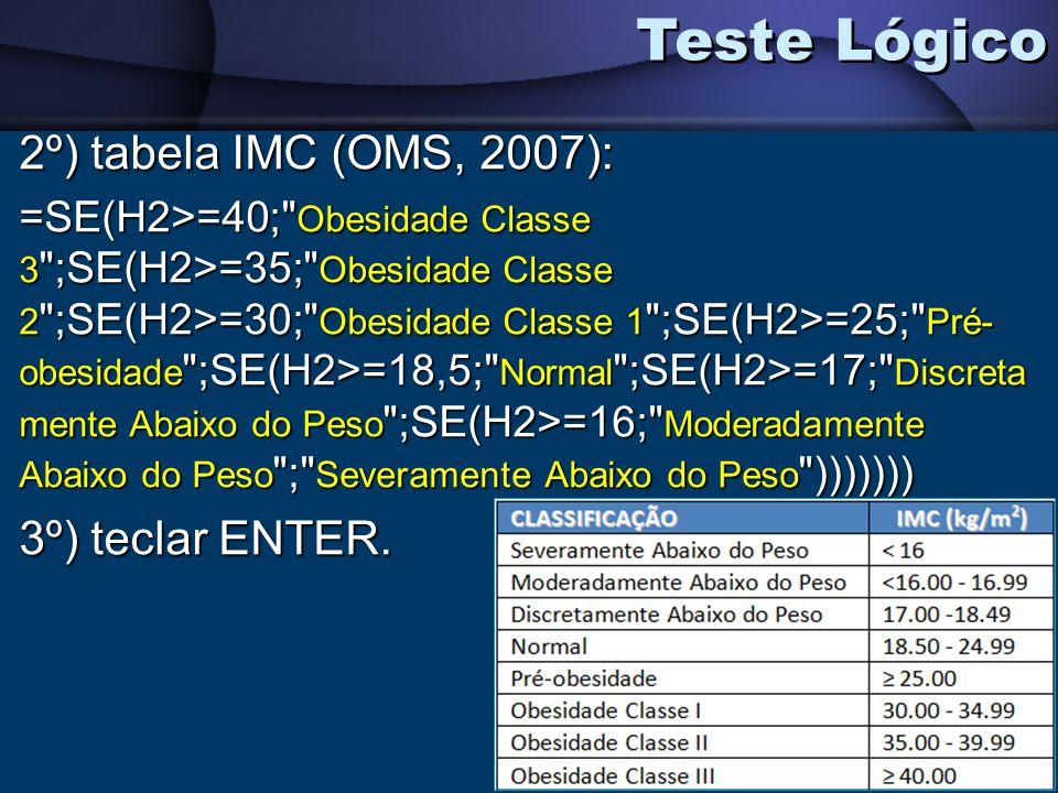 Teste Lógico 2º) tabela IMC (OMS, 2007): 3º) teclar ENTER.