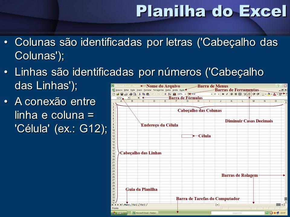 Planilha do Excel Colunas são identificadas por letras ( Cabeçalho das Colunas ); Linhas são identificadas por números ( Cabeçalho das Linhas );