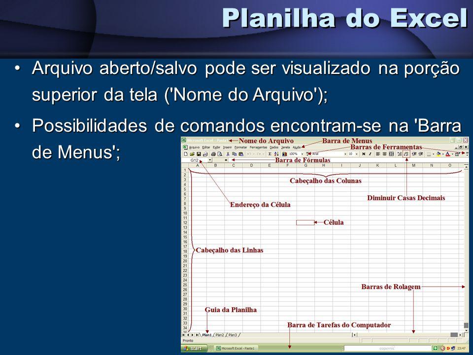 Planilha do Excel Arquivo aberto/salvo pode ser visualizado na porção superior da tela ( Nome do Arquivo );