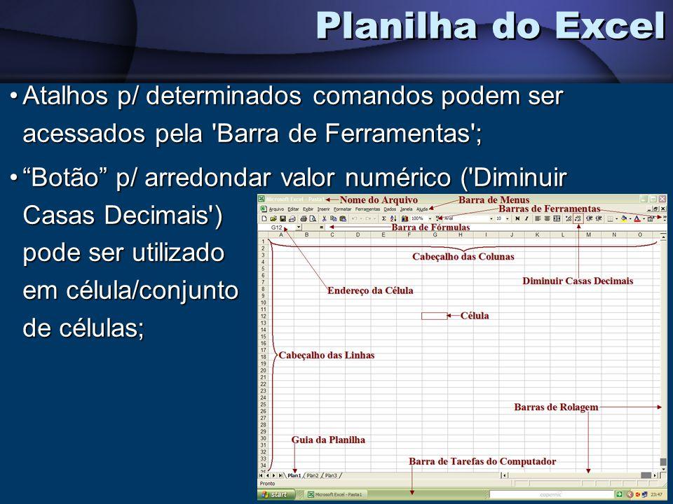Planilha do Excel Atalhos p/ determinados comandos podem ser acessados pela Barra de Ferramentas ;