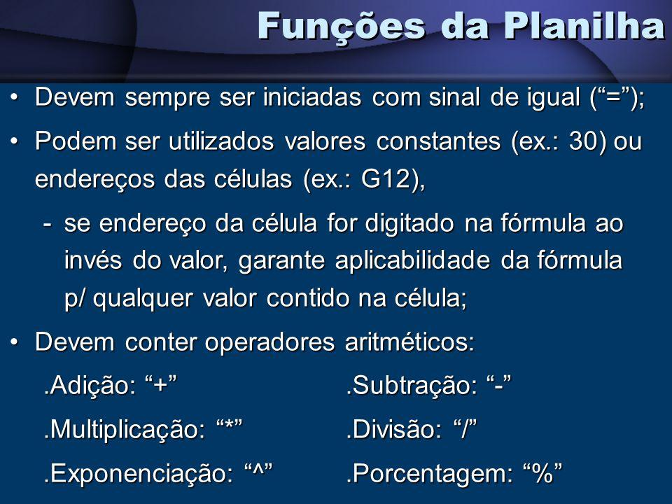 Funções da Planilha Devem sempre ser iniciadas com sinal de igual ( = );