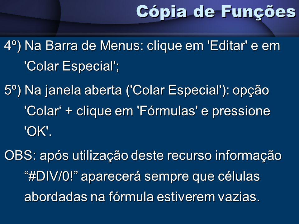 Cópia de Funções 4º) Na Barra de Menus: clique em Editar e em Colar Especial ;