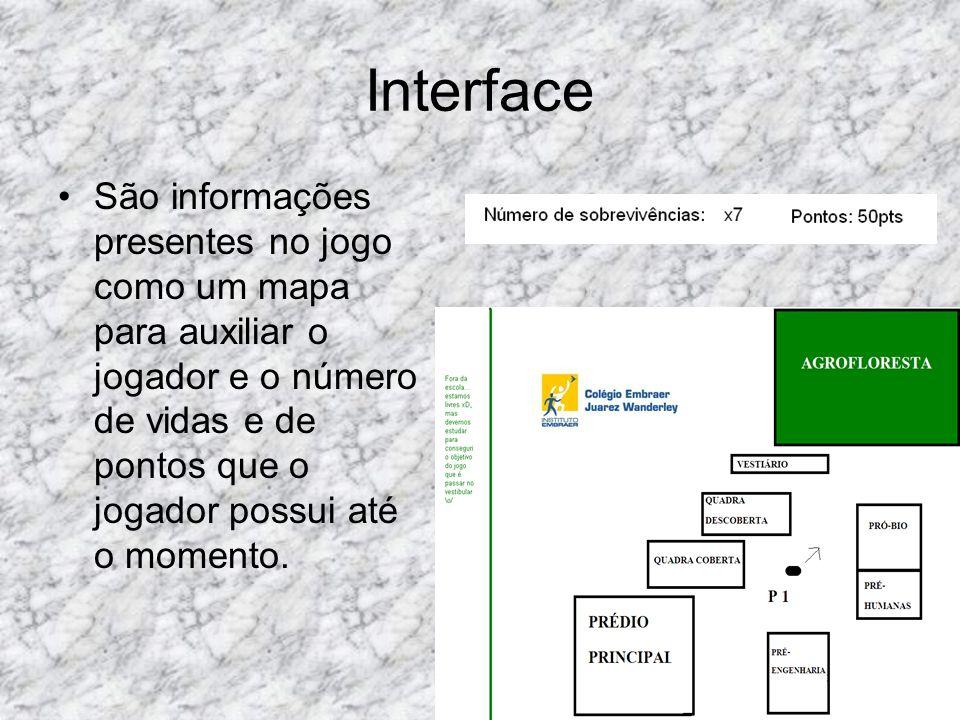 Interface São informações presentes no jogo como um mapa para auxiliar o jogador e o número de vidas e de pontos que o jogador possui até o momento.
