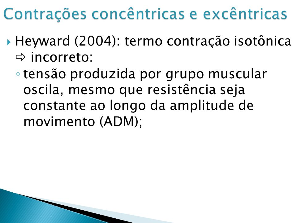 Contrações concêntricas e excêntricas
