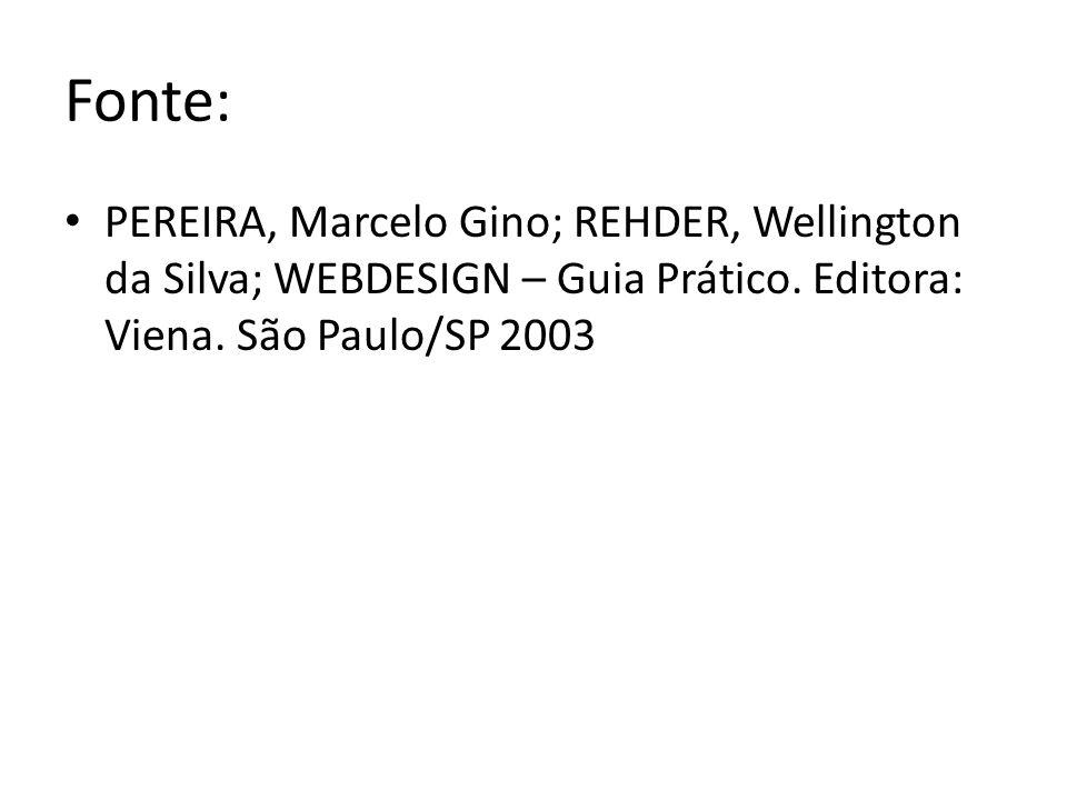 Fonte: PEREIRA, Marcelo Gino; REHDER, Wellington da Silva; WEBDESIGN – Guia Prático.