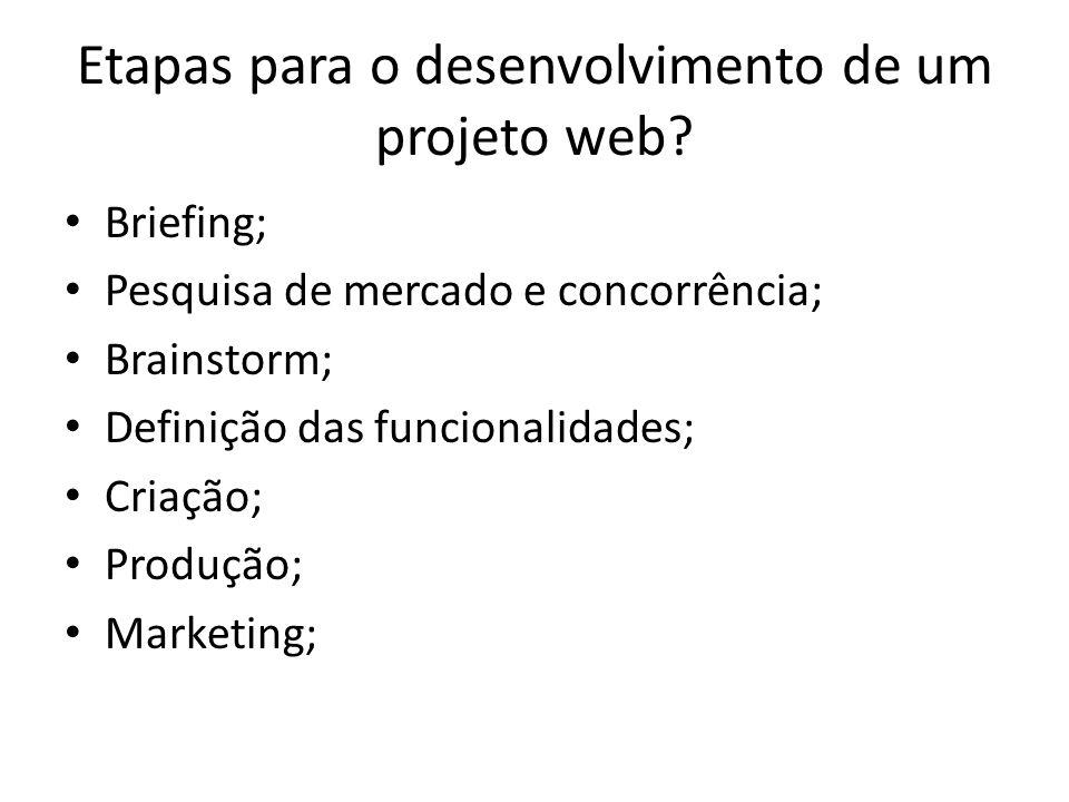 Etapas para o desenvolvimento de um projeto web