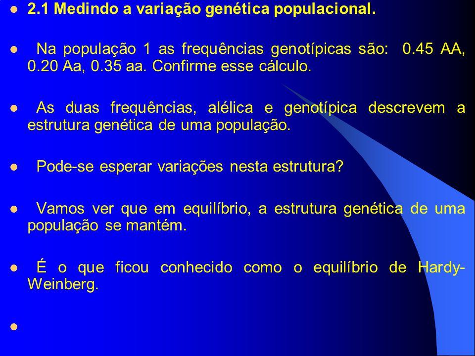 2.1 Medindo a variação genética populacional.