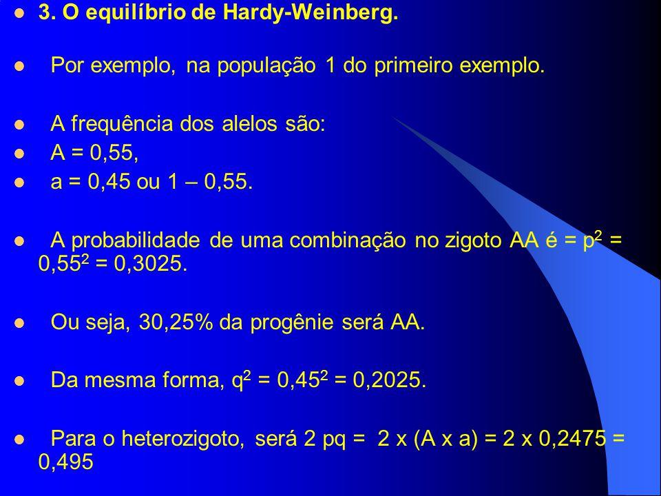 3. O equilíbrio de Hardy-Weinberg.