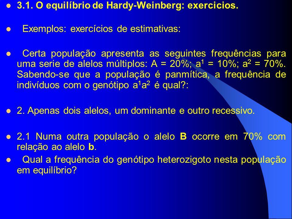 3.1. O equilíbrio de Hardy-Weinberg: exercicios.