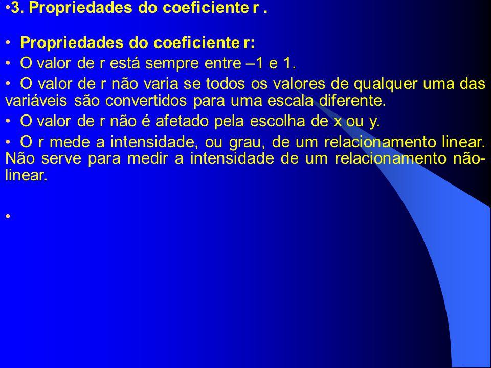 3. Propriedades do coeficiente r .