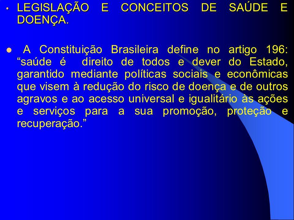 LEGISLAÇÃO E CONCEITOS DE SAÚDE E DOENÇA.