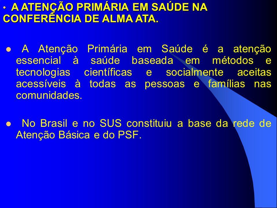 A ATENÇÃO PRIMÁRIA EM SAÚDE NA CONFERÊNCIA DE ALMA ATA.