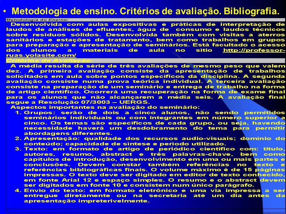 Metodologia de ensino. Critérios de avaliação. Bibliografia.