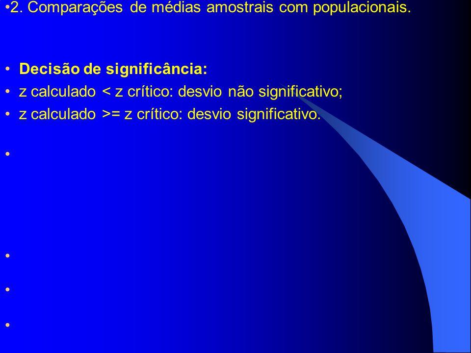 2. Comparações de médias amostrais com populacionais.