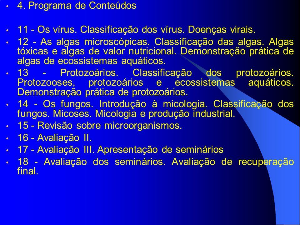 4. Programa de Conteúdos 11 - Os vírus. Classificação dos vírus. Doenças virais.