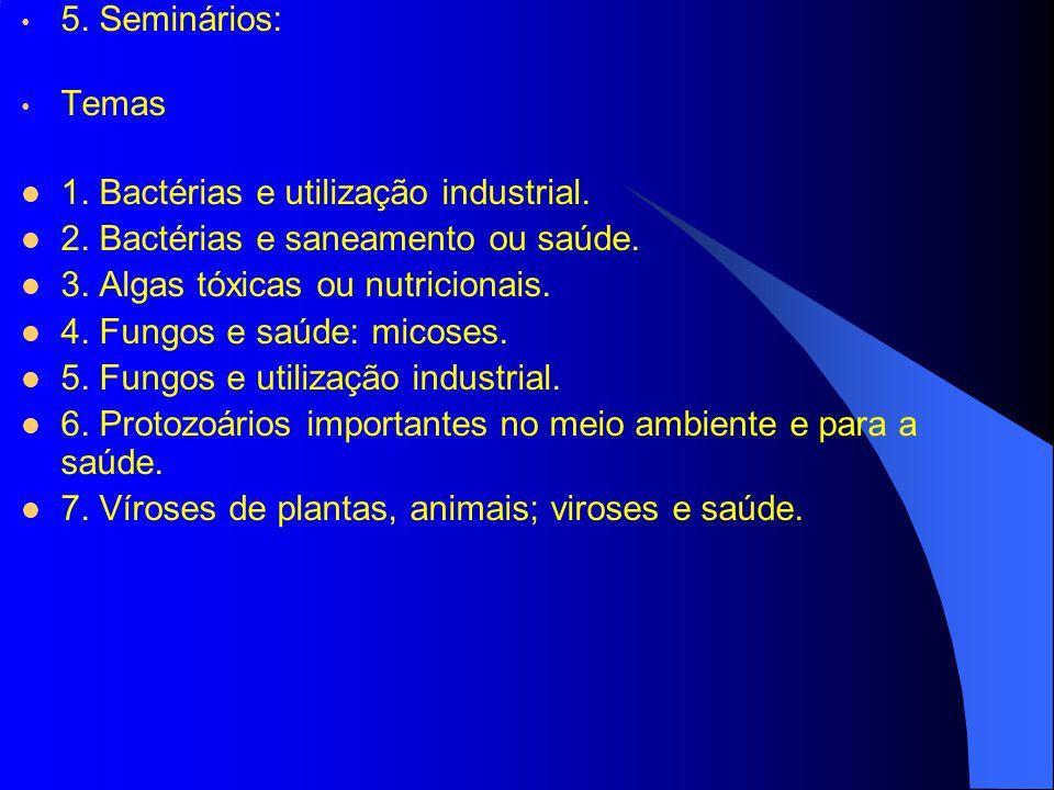 5. Seminários: Temas. 1. Bactérias e utilização industrial. 2. Bactérias e saneamento ou saúde. 3. Algas tóxicas ou nutricionais.