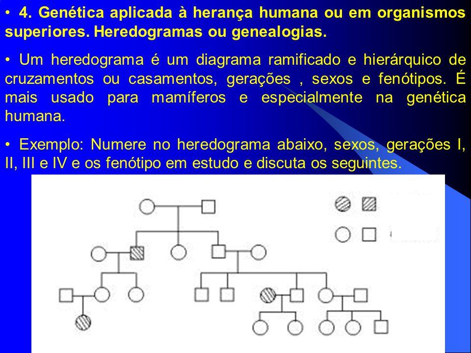 4. Genética aplicada à herança humana ou em organismos superiores