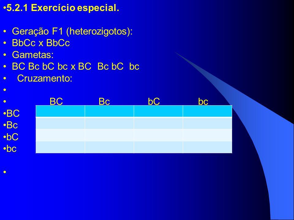 5.2.1 Exercício especial. Geração F1 (heterozigotos): BbCc x BbCc. Gametas: BC Bc bC bc x BC Bc bC bc.