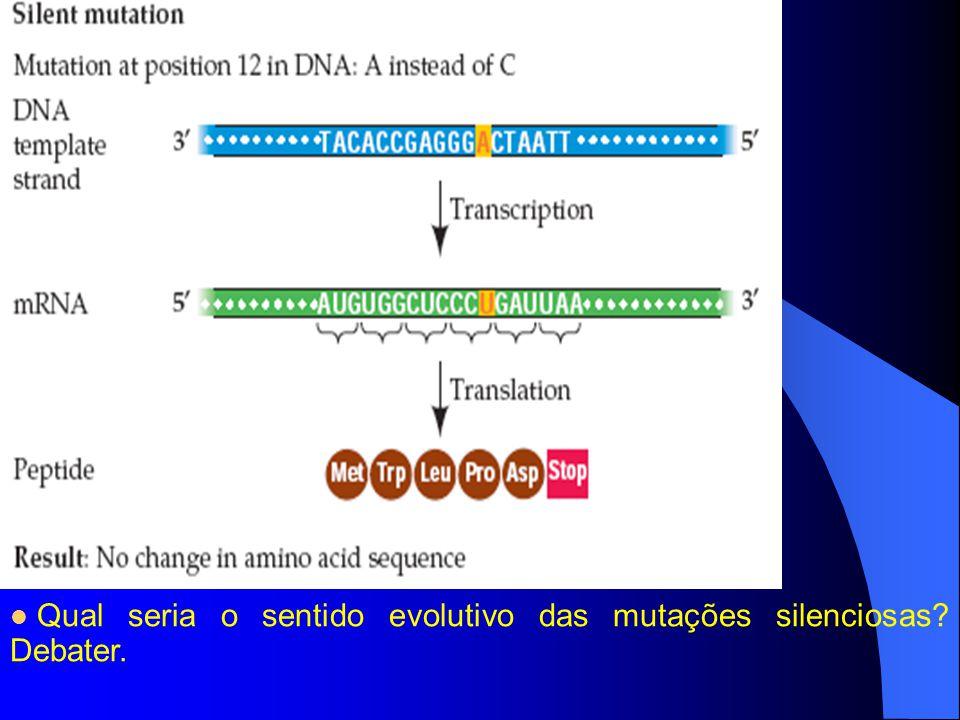 Qual seria o sentido evolutivo das mutações silenciosas Debater.
