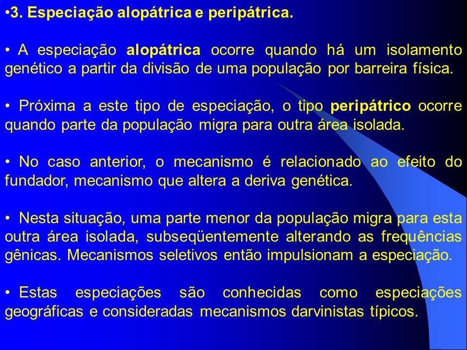 3. Especiação alopátrica e peripátrica.