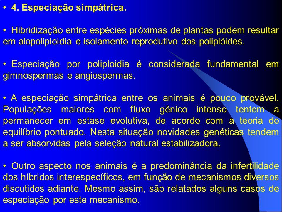 4. Especiação simpátrica.