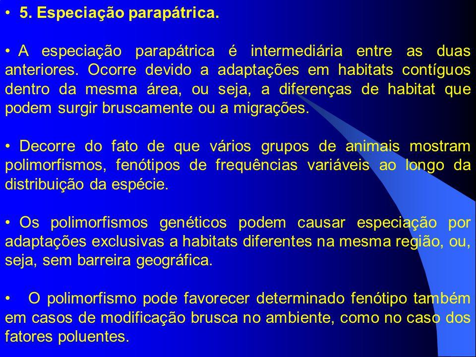 5. Especiação parapátrica.