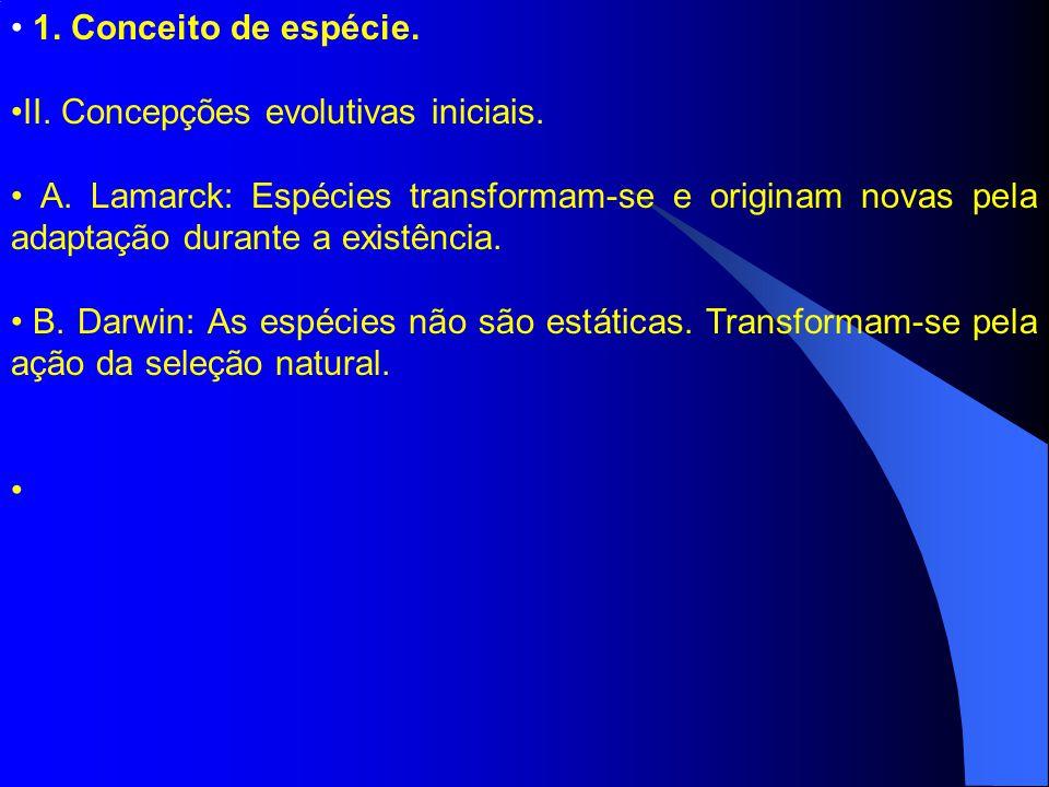 1. Conceito de espécie. II. Concepções evolutivas iniciais.