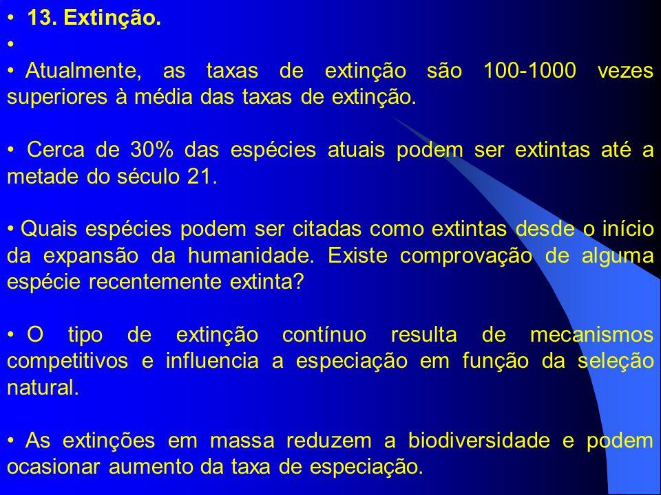 13. Extinção. Atualmente, as taxas de extinção são 100-1000 vezes superiores à média das taxas de extinção.