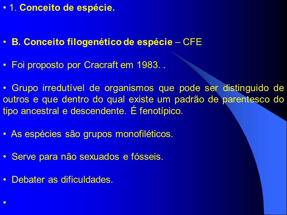 1. Conceito de espécie. B. Conceito filogenético de espécie – CFE. Foi proposto por Cracraft em 1983. .