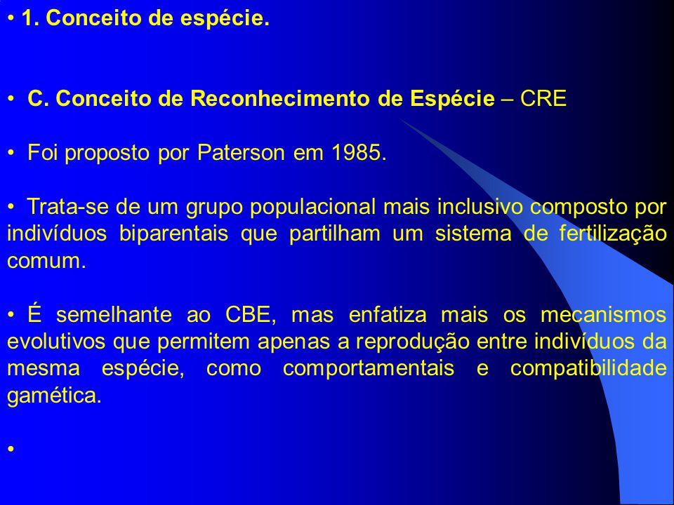 1. Conceito de espécie. C. Conceito de Reconhecimento de Espécie – CRE. Foi proposto por Paterson em 1985.