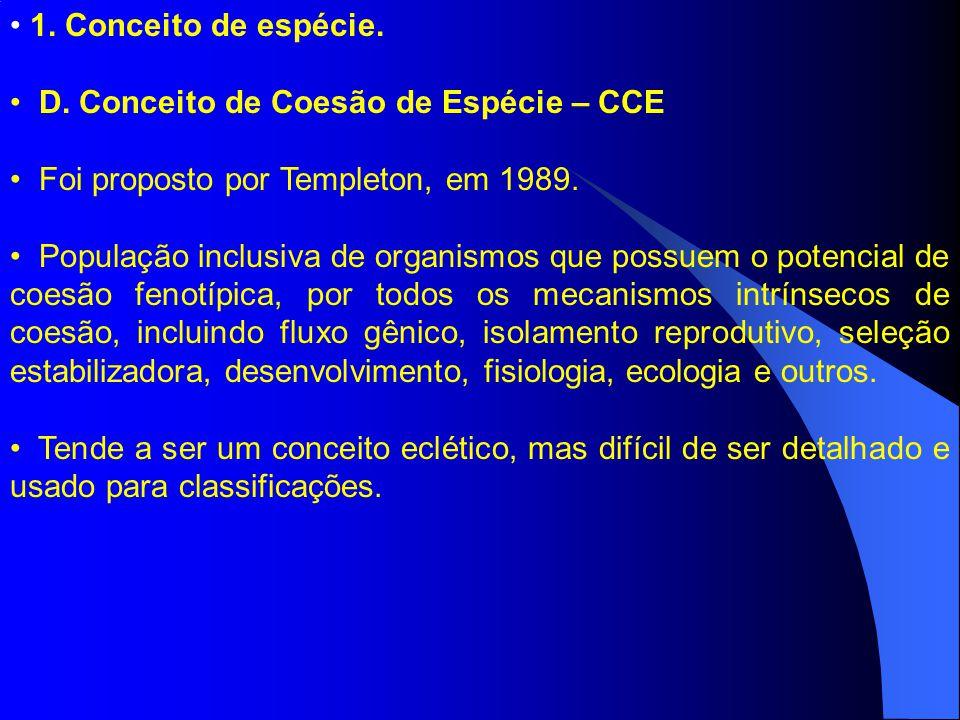 1. Conceito de espécie. D. Conceito de Coesão de Espécie – CCE. Foi proposto por Templeton, em 1989.